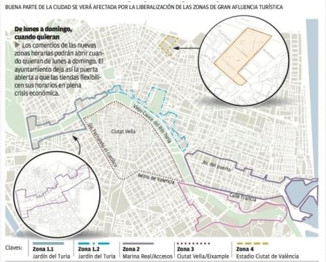 Mapa Zonas Libertad Horario Comercial Valencia 2013