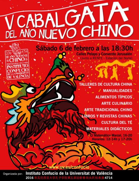 Cartel Cabalgata Año Nuevo Chino 2016