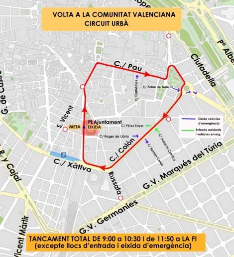 Recorrido urbano Vuelta Ciclista Comunidad Valenciana Valencia 2016