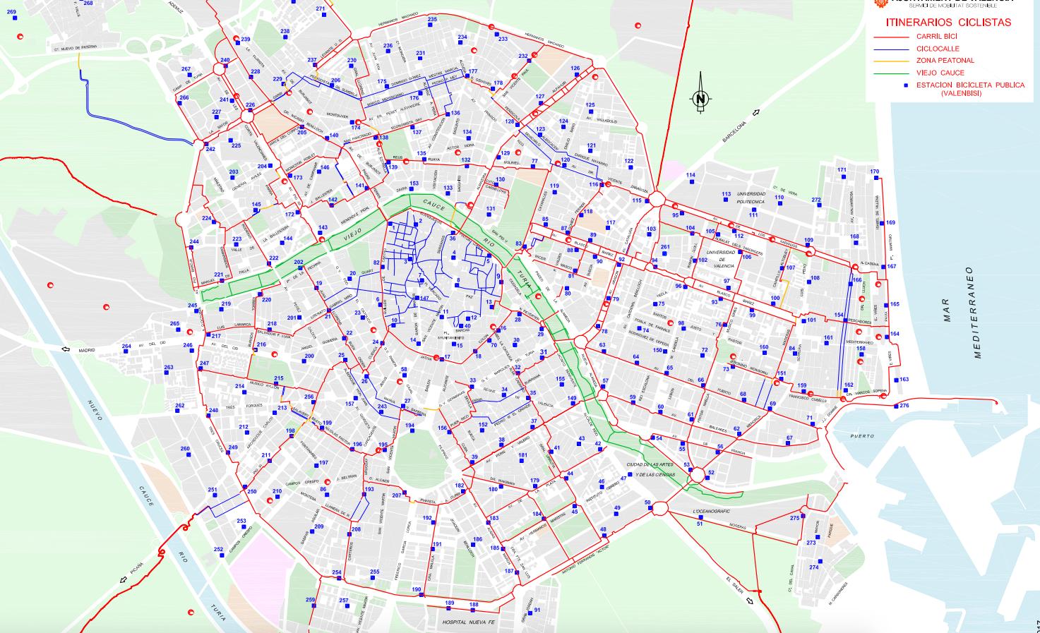Mapa Fallas Valencia 2019.Mapa De Carril Bici De Valencia 2017 Valencia Legendaria