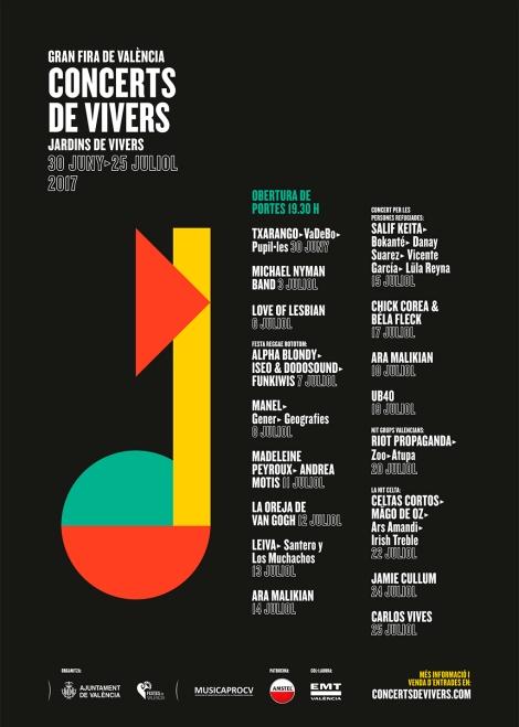 Cartel Feria de Julio Conciertos Viveros Valencia 2017